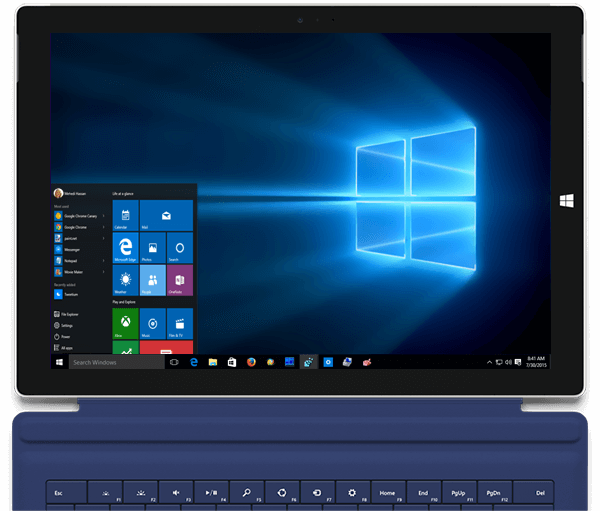 Windows desktop view on Surface 3 tablet