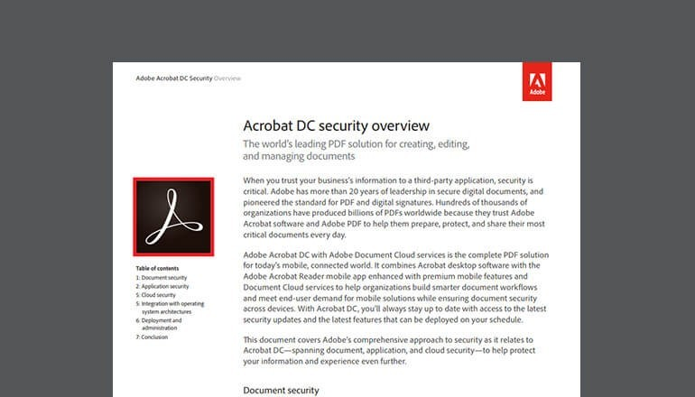 Thumbnail of Acrobat DC Security product overview available to download below